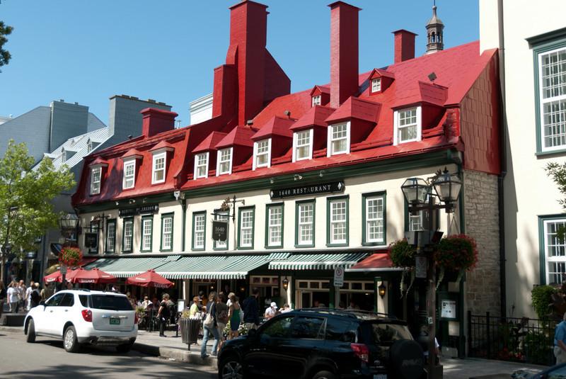 Row of restaurants in Quebec City, Quebec, Canada