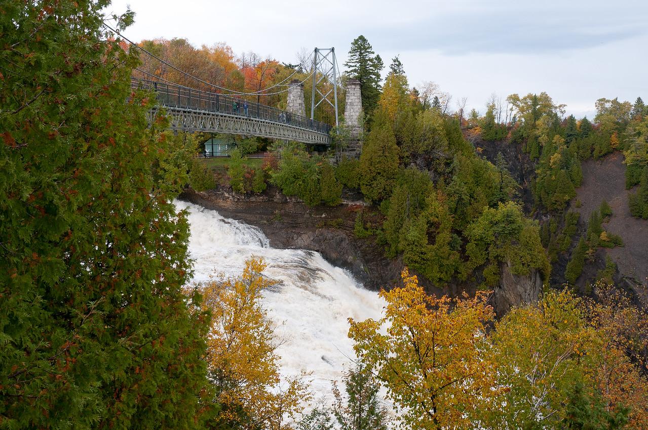 View of the bridge atop Montmonrency Falls in Quebec City, Canada