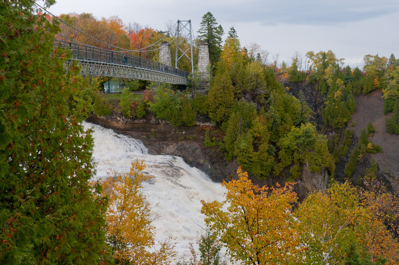 View of the bridge atop Montmonrency Falls in Quebec City, Canada