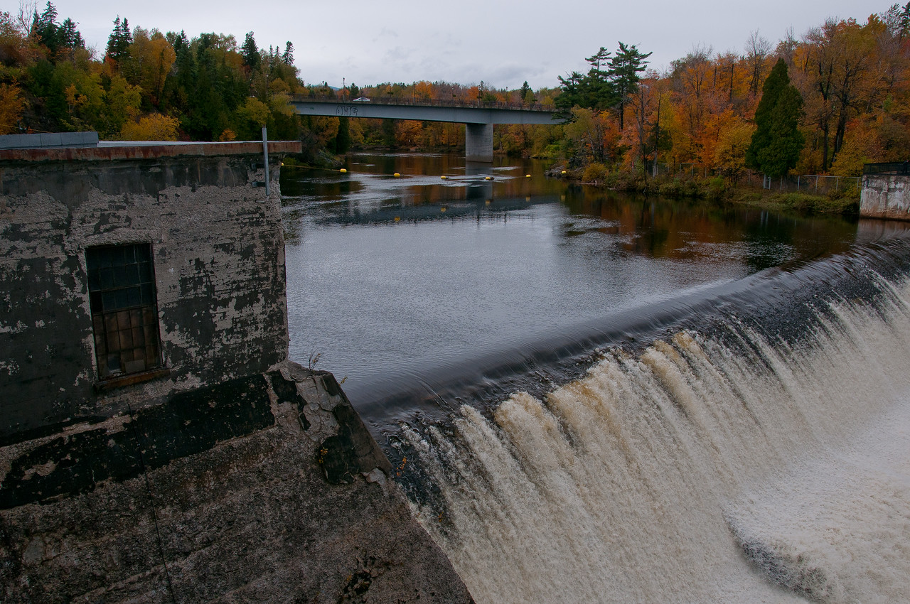 Shot of the Montmorency Falls from the bridge - Quebec, Canada
