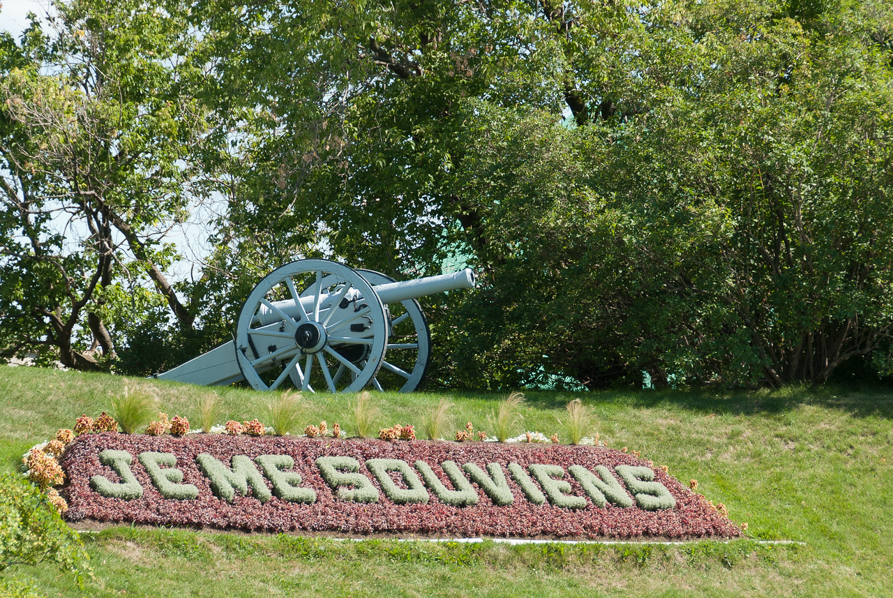Je me souviens, official motto of Quebec in Citadelle of Quebec, Quebec City, Canada