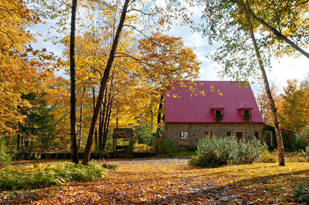 A house during autumn in Quebec City, Quebec, Canada