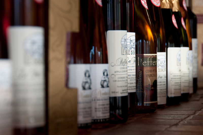 Wine selection at Cidrerie Verger Bilodeau in Quebec, Canada