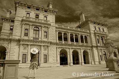 Imagining Life in the Gilded Age in Sepia at The Breakers, Cornelius Vanderbilt II mansion, Newport, RI