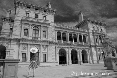 Imagining Life in the Gilded Age in Black and White at The Breakers, Cornelius Vanderbilt II mansion, Newport, RI