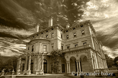 The Breakers, side view with Wisteria Arbor - Sepia