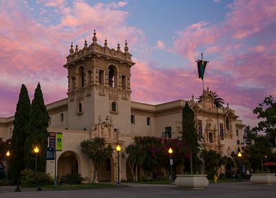 Balboa Park's House of Hospitality at sunset.