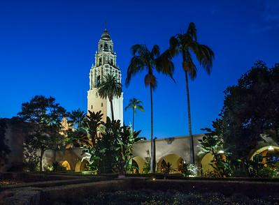 Balboa Park California Tower over Alcazar Gardens.