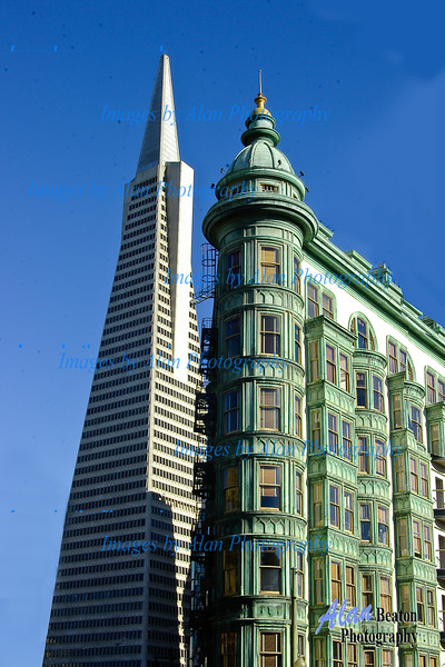 Transamerica Pyramid and Sentinel flatiron building