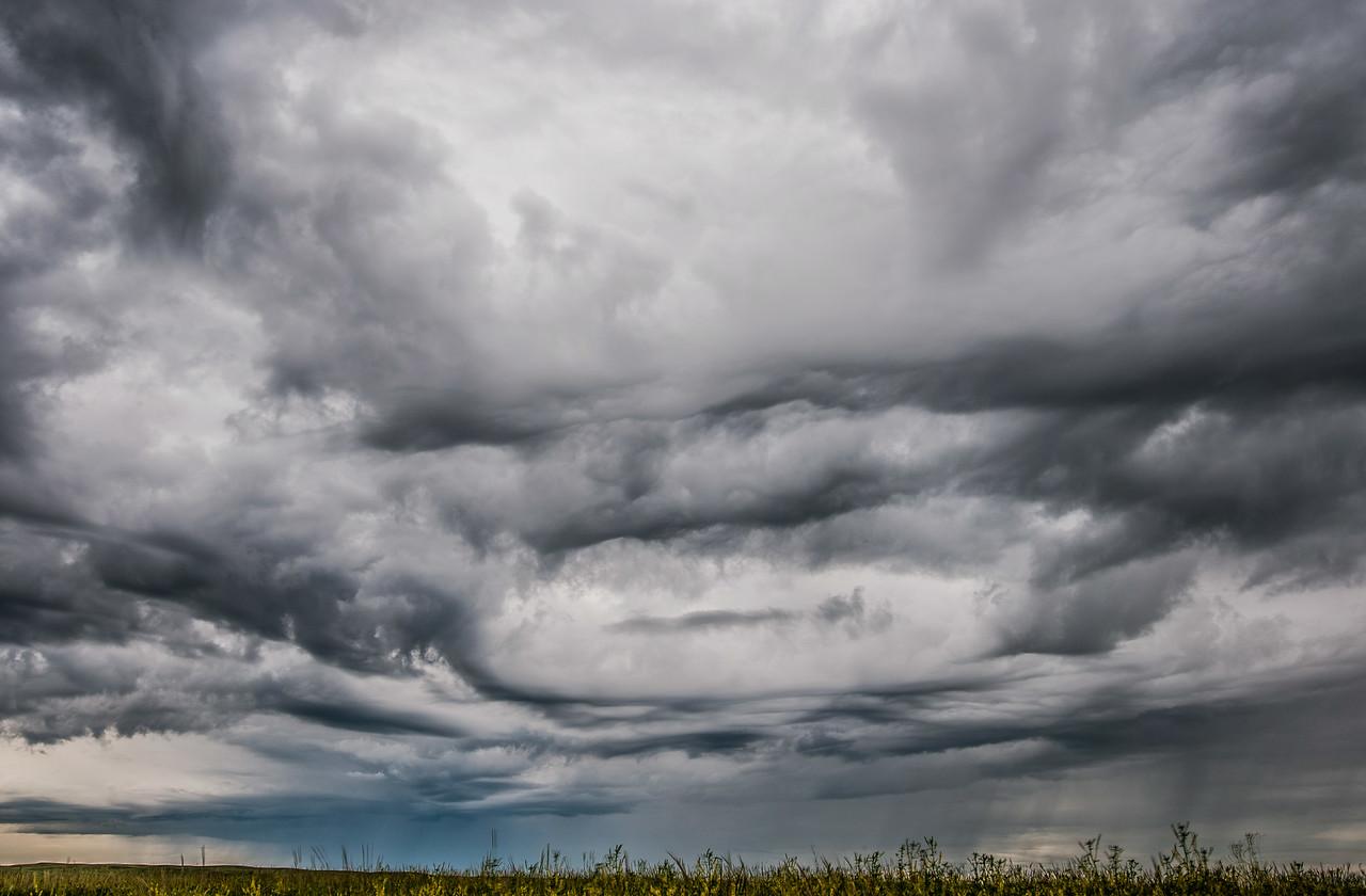 Dark clouds above Grasslands National Park in Saskatchewan, Canada