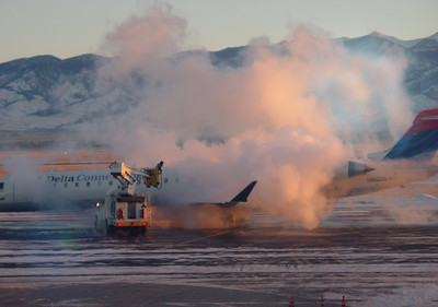 It's 30 degrees below zero at Bozeman airport and we're going to be de-iced too.
