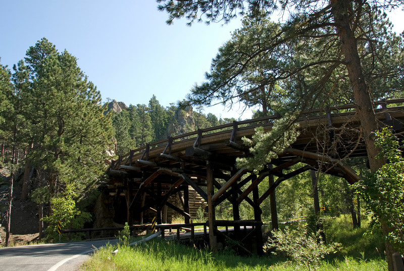Pigtail bridge in Iron Mountain Road near Black Hills, South Dakota