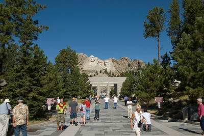 Tourists in Black Hills National Forest park in South Dakota