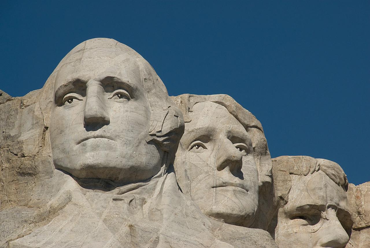 Close-up of sculptures at Mount Rushmore in Black Hills, South Dakota