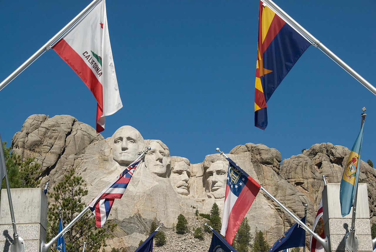 State flags in Mount Rushmore in Black Hills, South Dakota