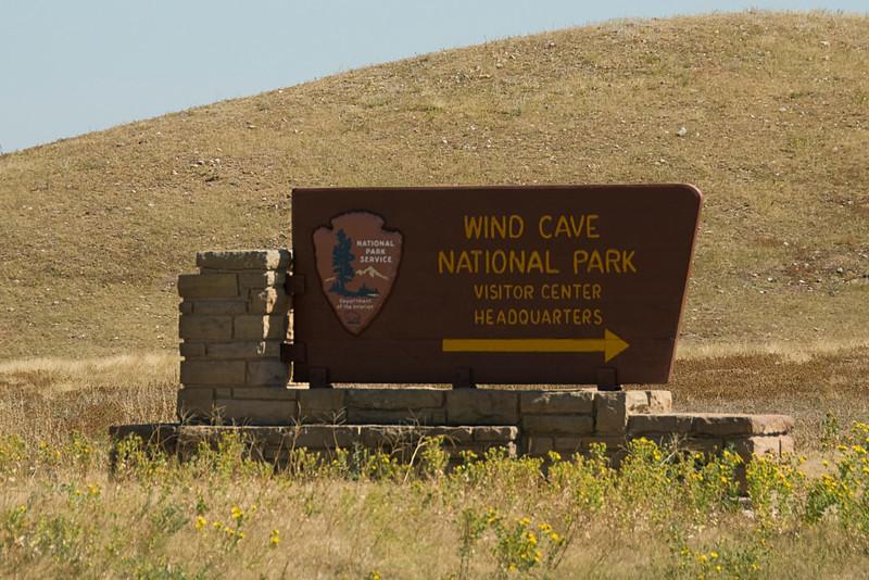 Sign to Wind Cave National Park, Black Hills, South Dakota