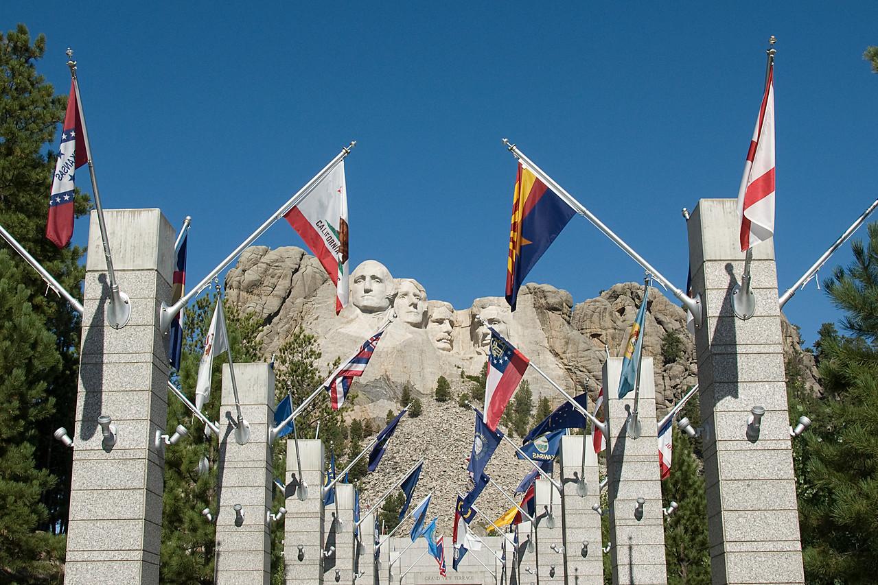 State flags near Mount Rushmore in Black Hills, South Dakota
