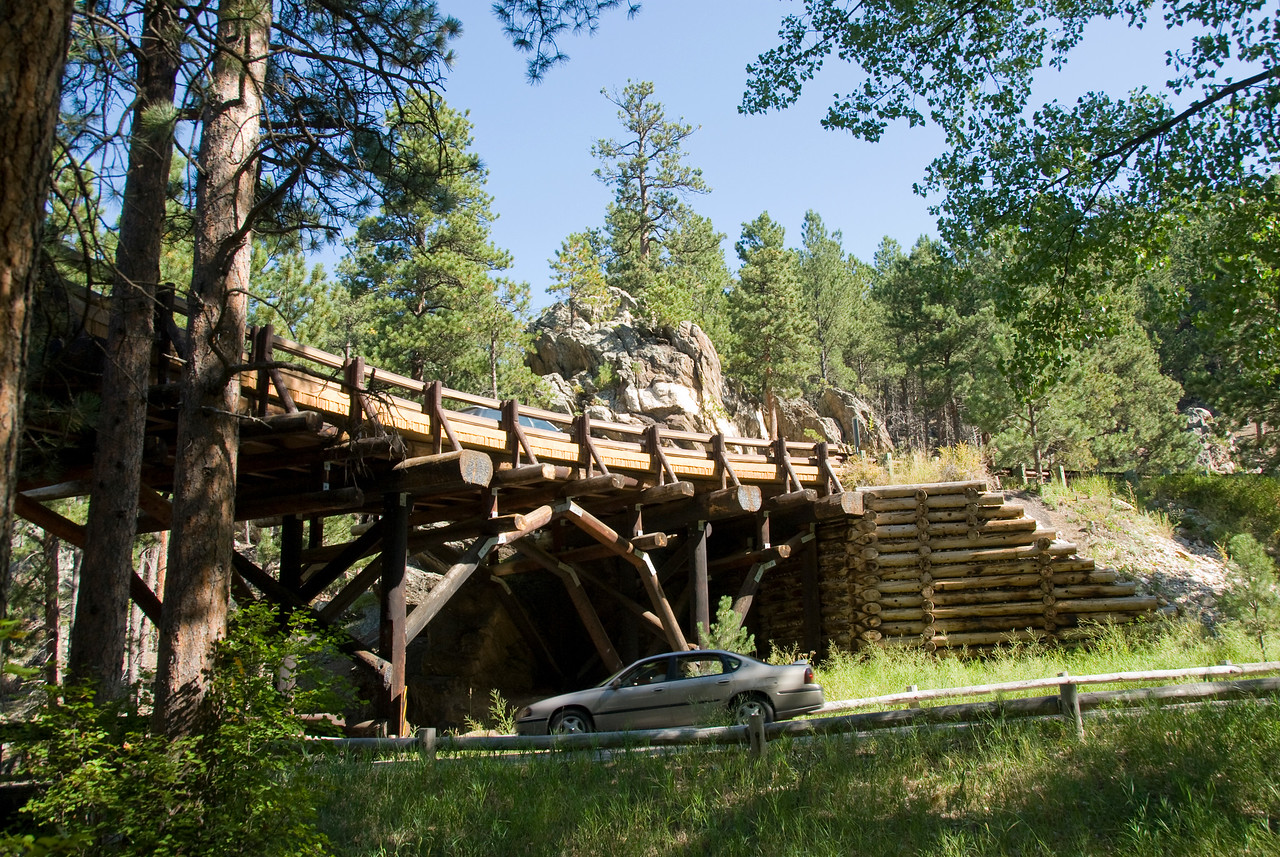 Pigtail bridge in Iron Mountain Road in Black Hills, South Dakota