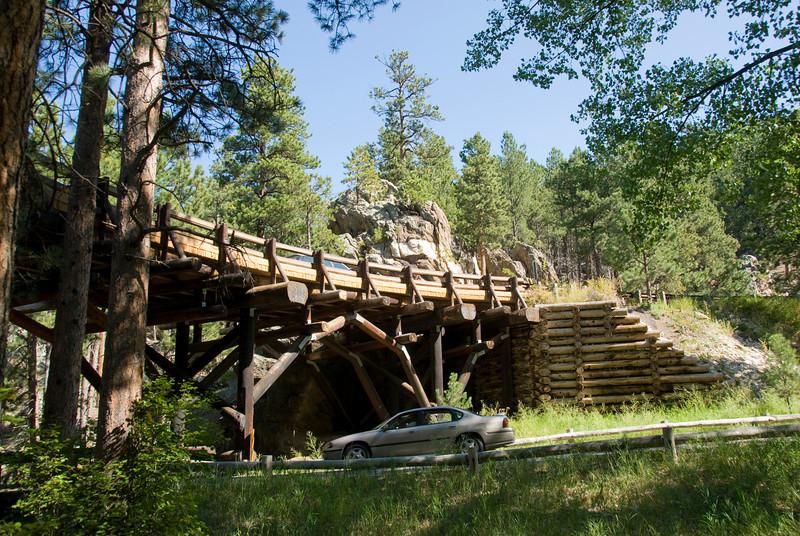 Pigtail bridge in Iron Mountain Road in Black Hills, South Dakota