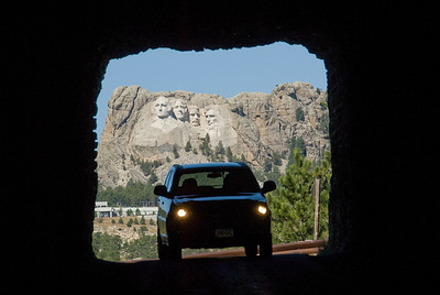 View of Mount Rushmore from tunnel in South Dakota