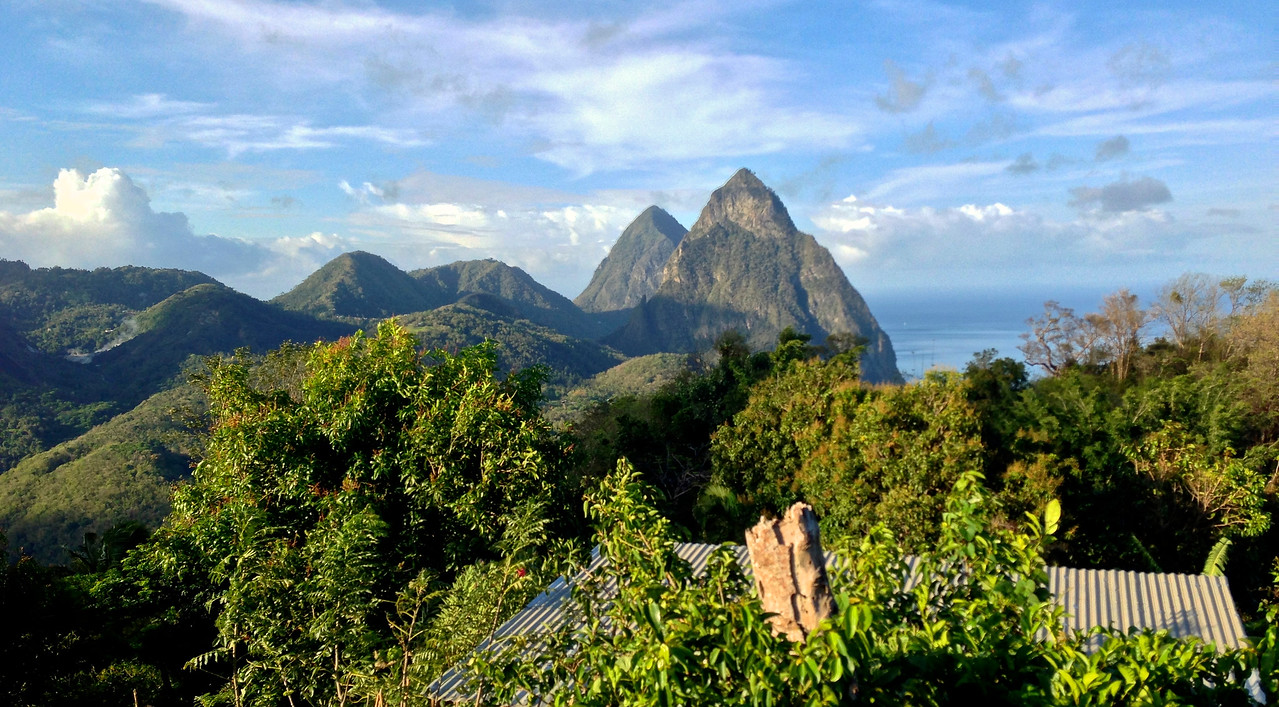 The Pitons from our hotel -St. Lucia