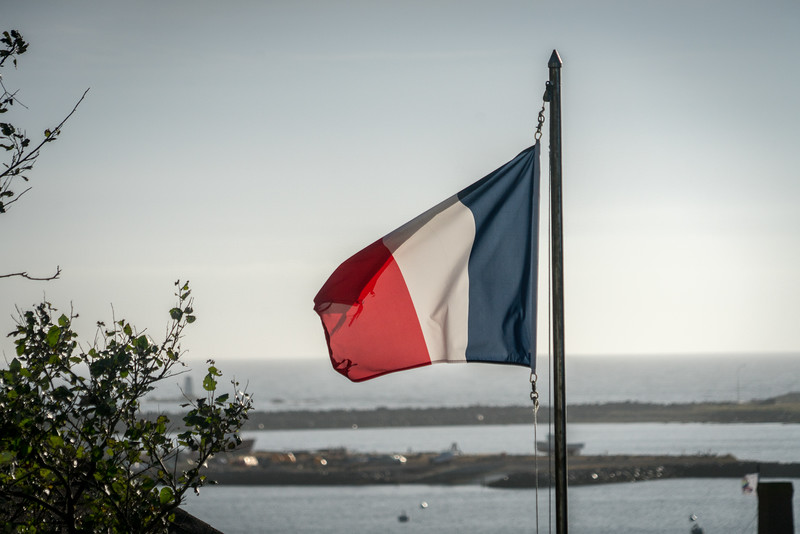 French flag flying over the island of St. Pierre