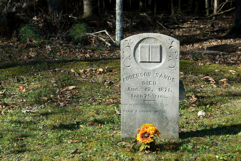 Anderson Sands memorial in the graveyard at Great Smoky Mountains National Park