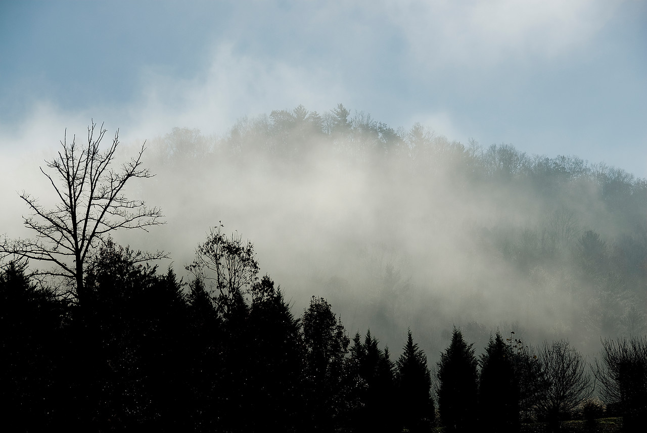 Mist over the Great Smoky Mountains in Gatlinburg, Tennessee