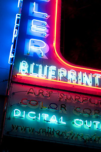 Neon lights at night in Austin, Texas