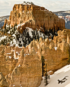 The warm sun and cold snow in Bryce