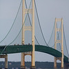 The Bridge on overcast day from Mackinac City on the Lower Peninsula.