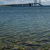 Mackinac Bridge from St. Ignace on the Upper Peninsula on a sunny day.  That's Lake Michigan in the front.