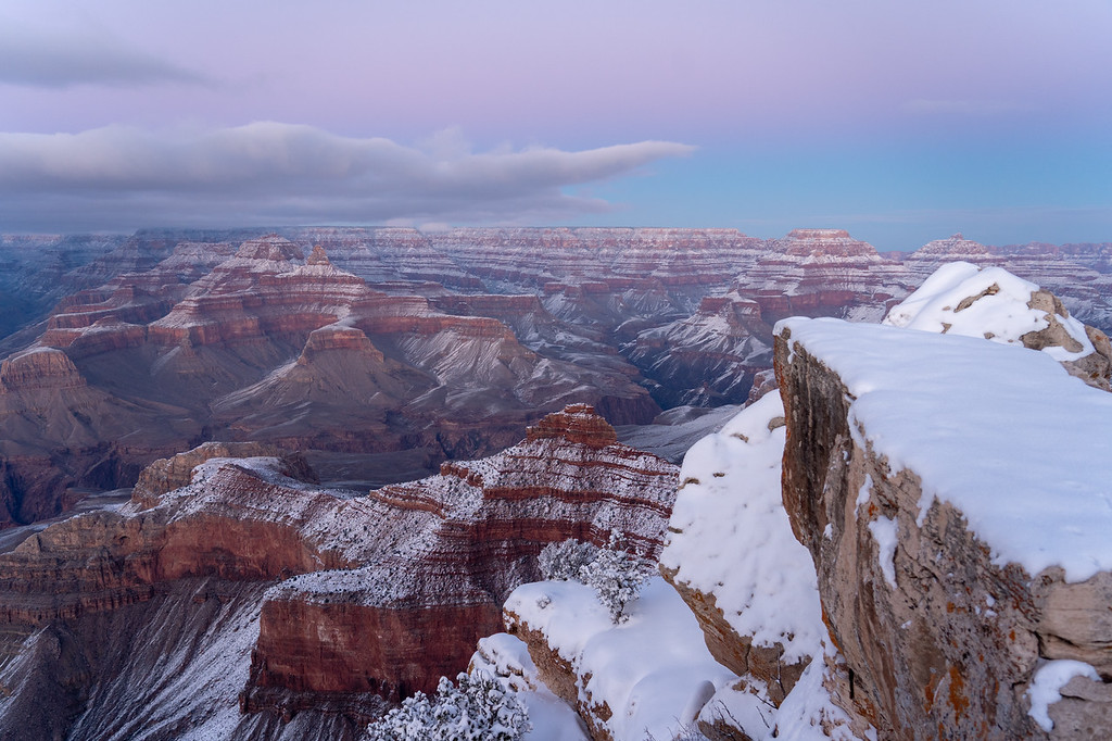 Mather Point sunset at the Grand Canyon in winter