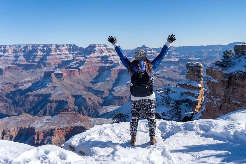 Amanda at a snowy Grand Canyon