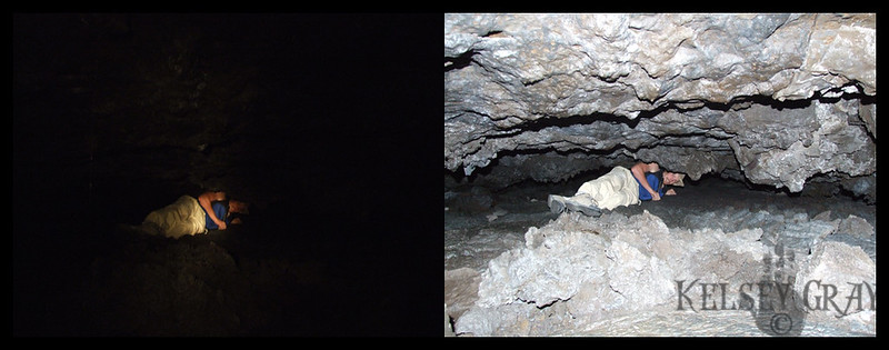 The first picture shows all that I could see while we crawled through this cave. The second I took with a flash from the same spot.