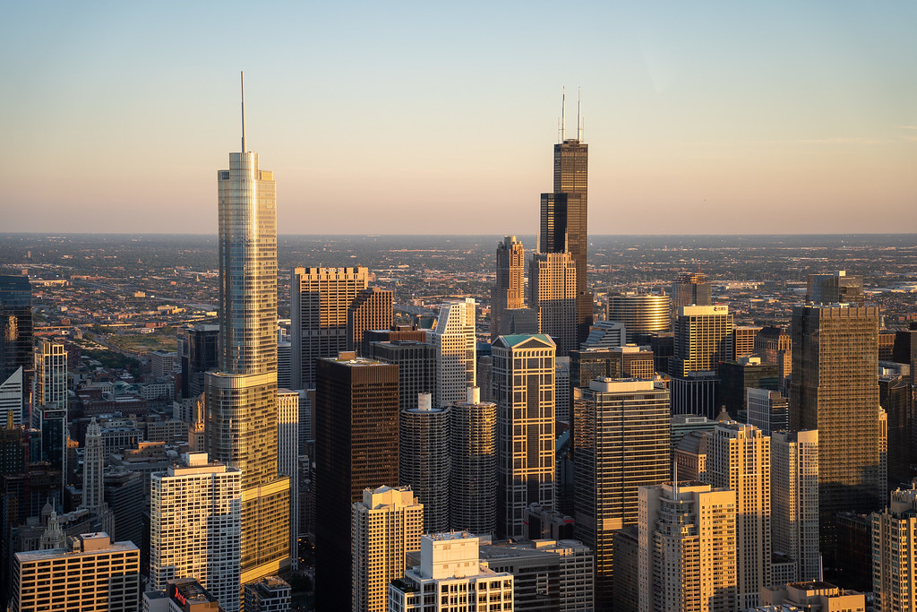 360 Chicago views at sunset