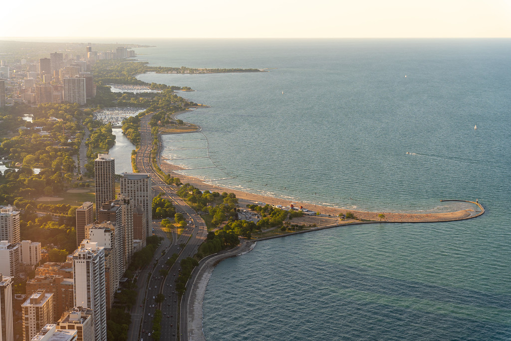 Lake Michigan beach from above