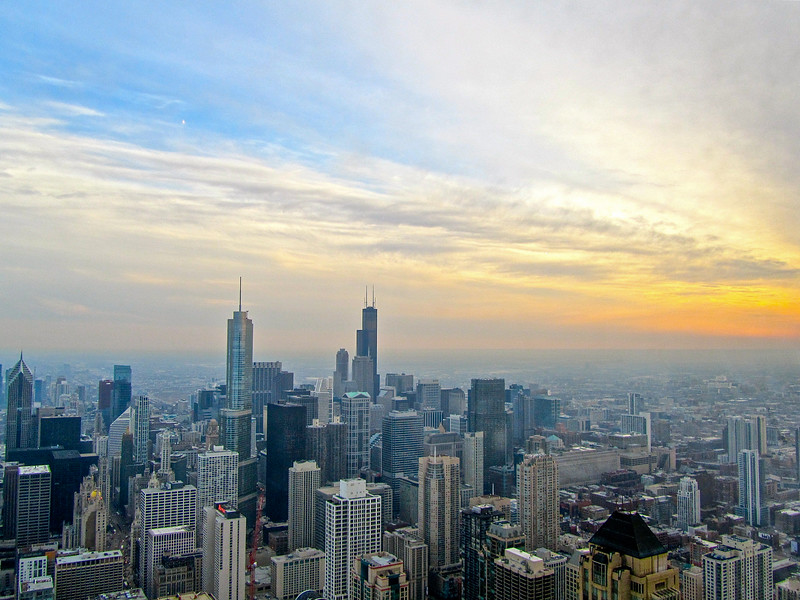Sunset over Chicago from John Hancock Building