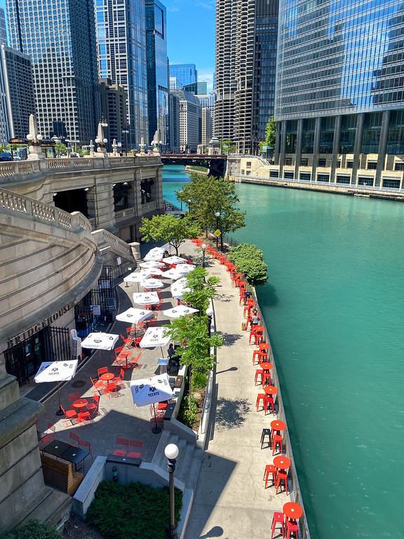 Chicago Riverwalk in summer
