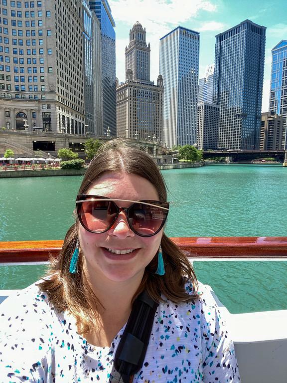 Amanda on a Chicago River cruise