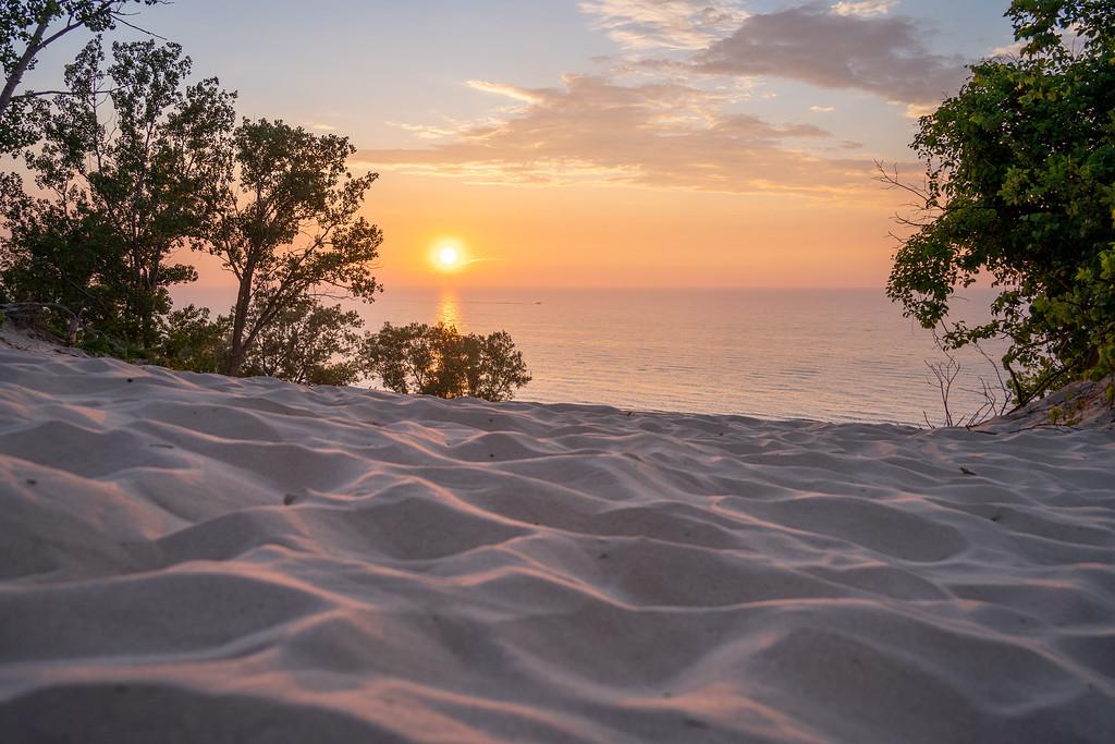 Sunset atop a sand dune