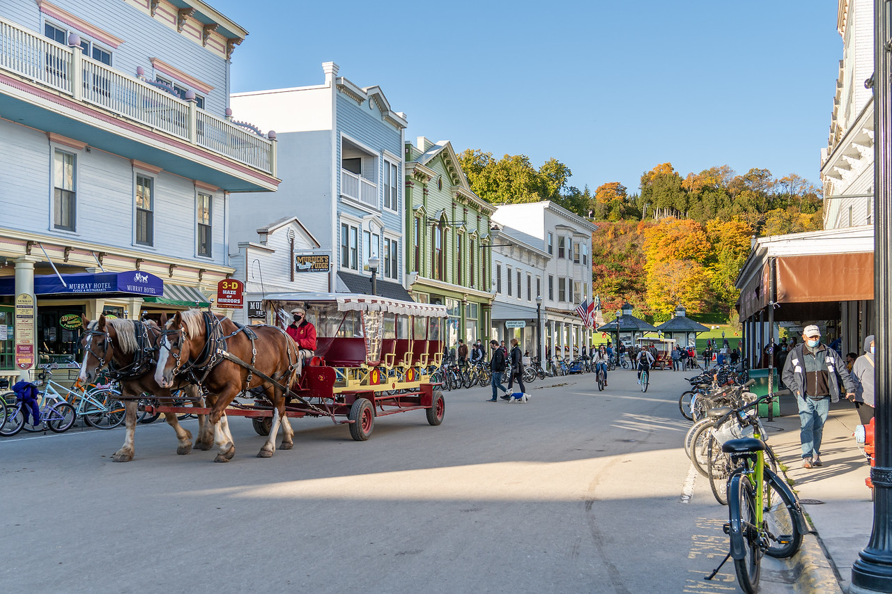 Horse-drawn carriage in downtown Mackinac Island