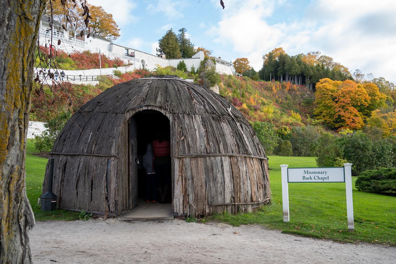 Missionary bark chapel on Mackinac Island