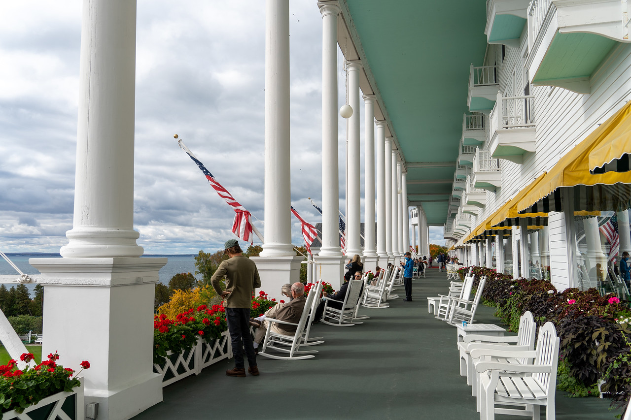 The porch at The Grand Hotel on Mackinac Island