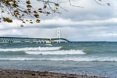 Mackinac Bridge and waves on Lake Huron