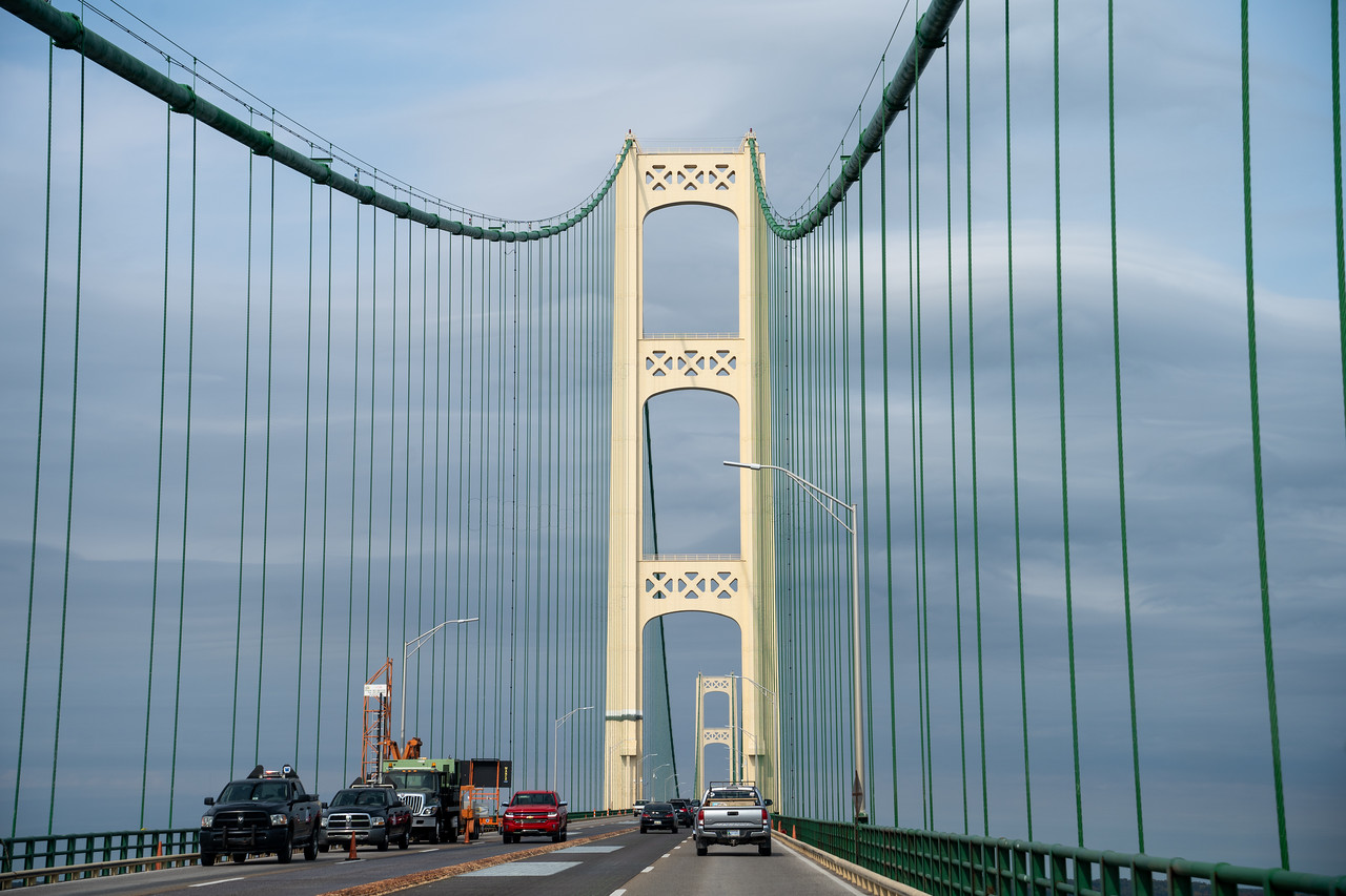 Driving across the Mackinac Bridge