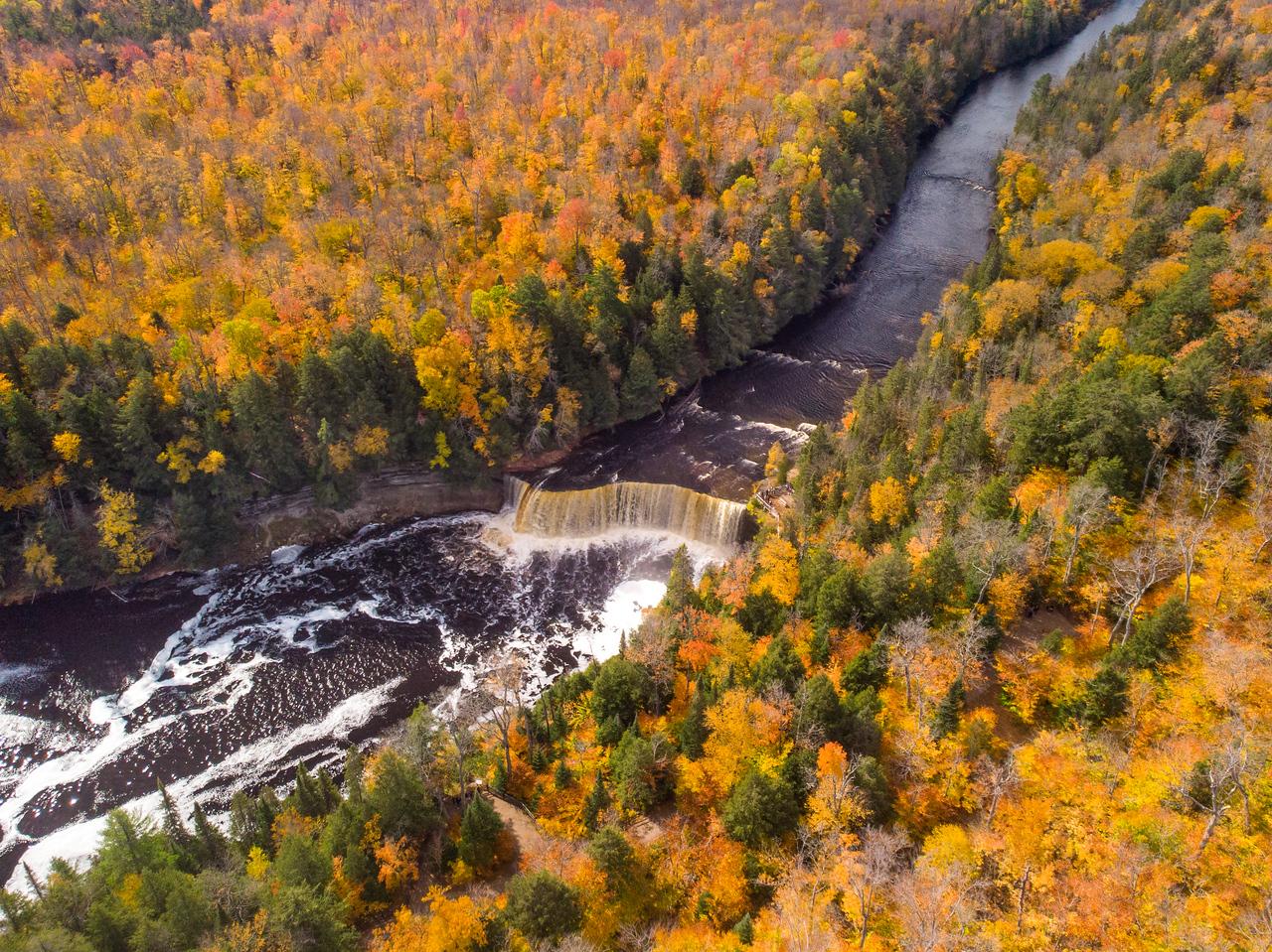 Drone shot of Tahquamenon Falls