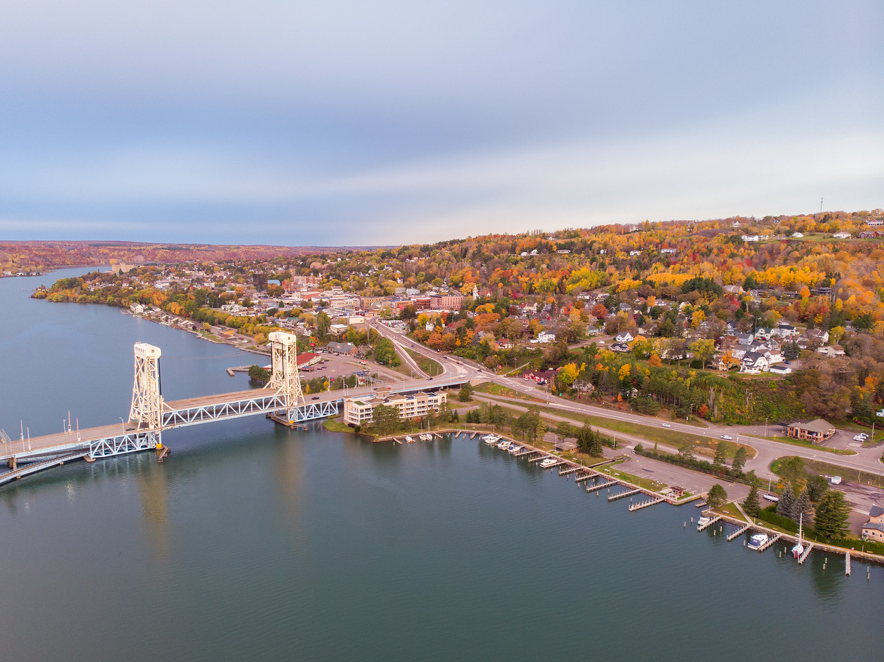 Drone view of Portage Lake Lift Bridge