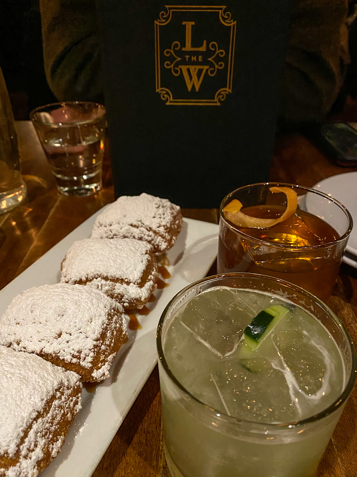 Drinks at beignets at The Last Word