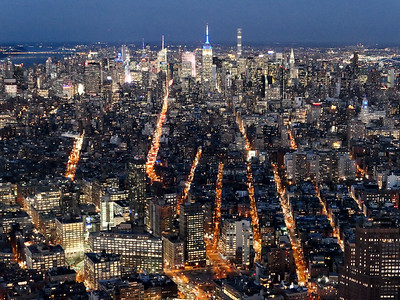 New York City at night from One World Observatory